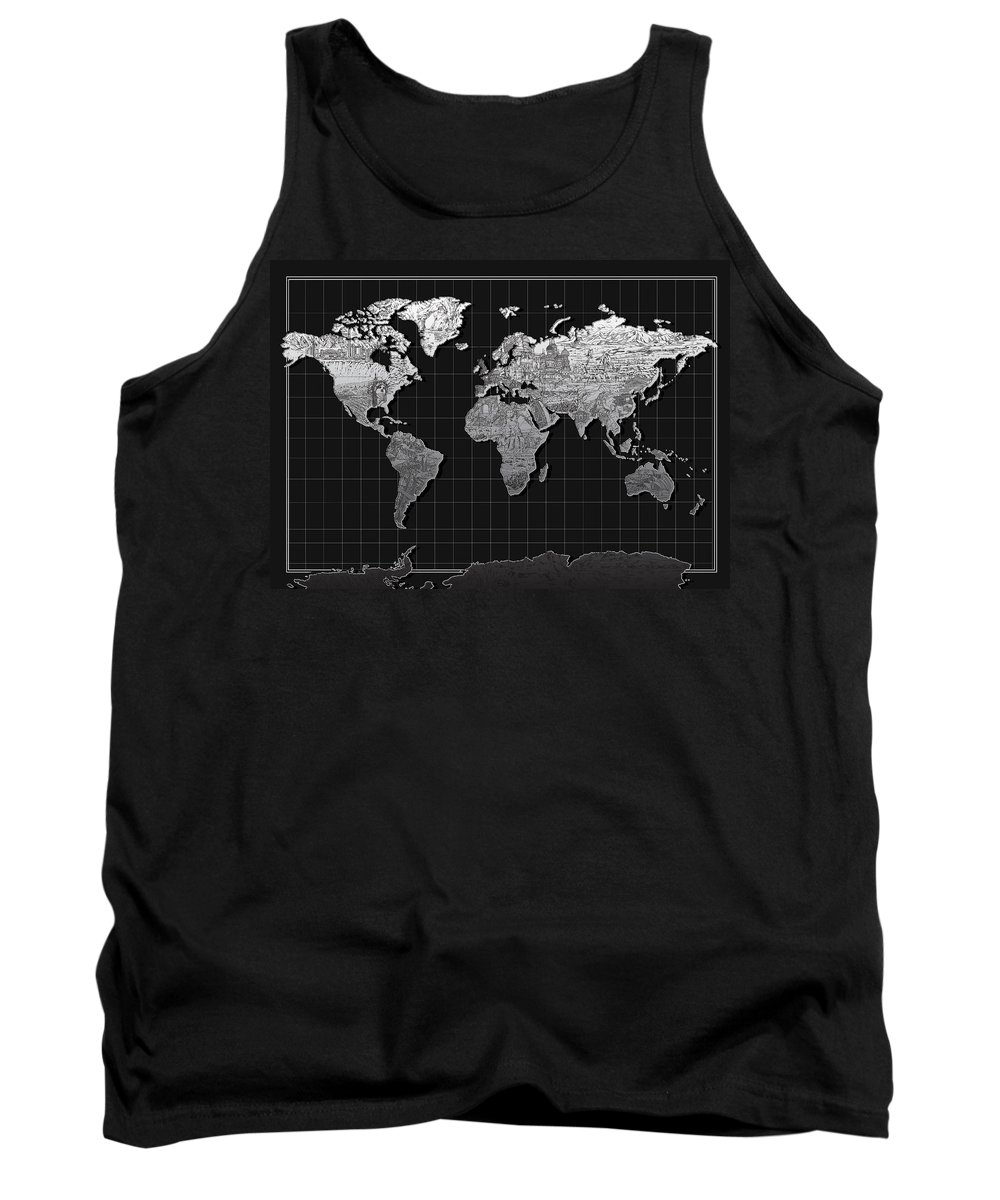 Map Of The World Tank Top featuring the painting World Map Landmark Black by Bekim Art
