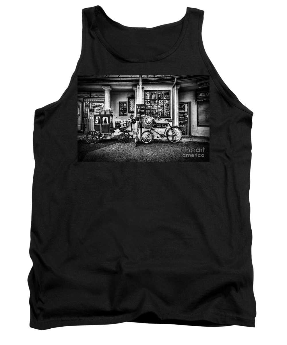 Ye Olde Sweet Shoppe Tank Top featuring the photograph Ye Olde Sweet Shoppe Mono by Steve Purnell