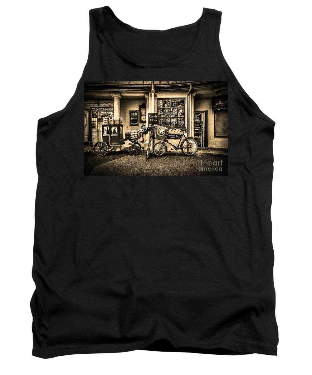 Ye Olde Sweet Shoppe Tank Top featuring the photograph Ye Olde Sweet Shoppe Sepia by Steve Purnell