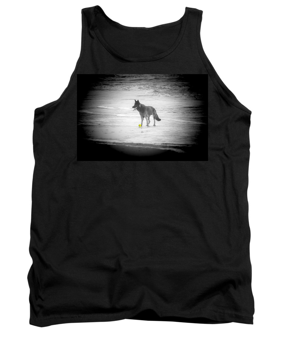 Dog Tank Top featuring the photograph Yellow Ball by Alex Hiemstra