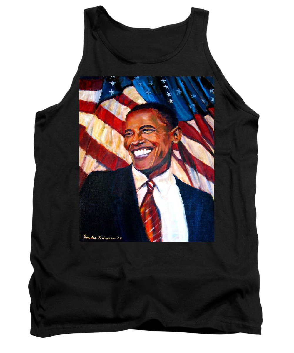 Barack Tank Top featuring the painting Yes We Can by Art Nomad Sandra Hansen