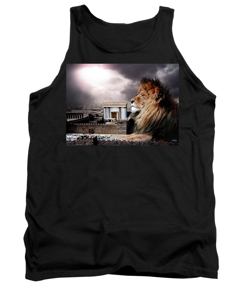 Lions Tank Top featuring the digital art Yeshua In The Outer Court by Bill Stephens