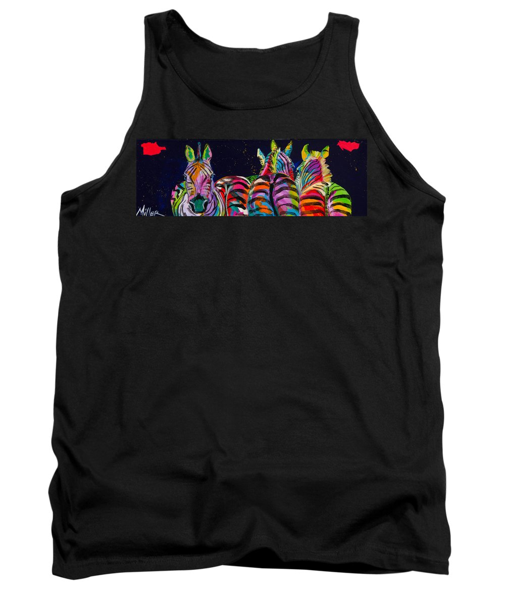 Tracy Miller Tank Top featuring the painting Zebras In A Row by Tracy Miller