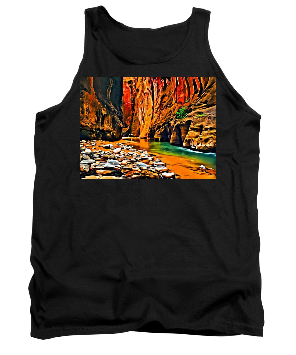Landscape Tank Top featuring the painting Zion Canyon by Florian Rodarte
