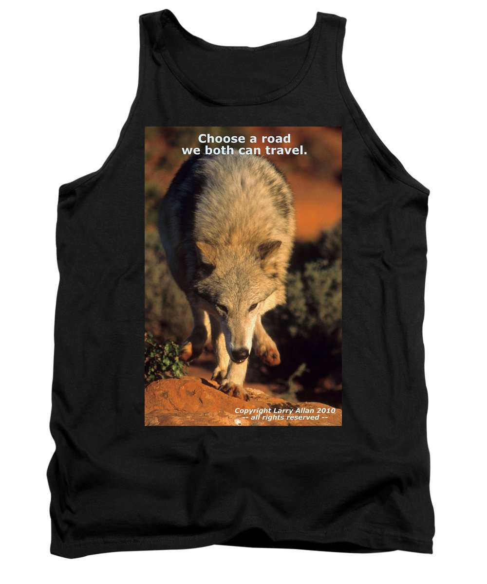 Gray Wolf Tank Top featuring the photograph  by Larry Allan
