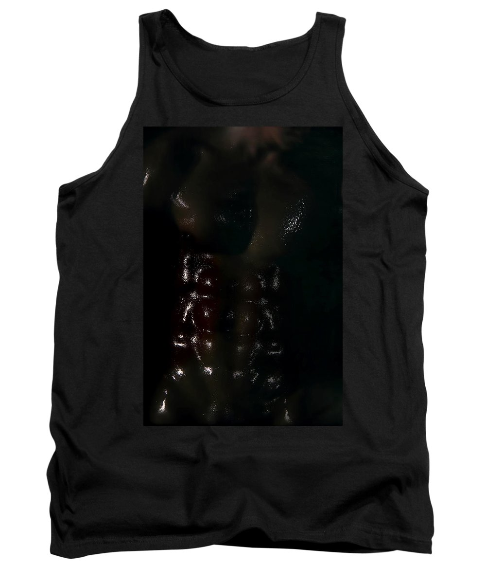 Male Nude Photos Tank Top featuring the photograph Man In Black by Mark Ashkenazi