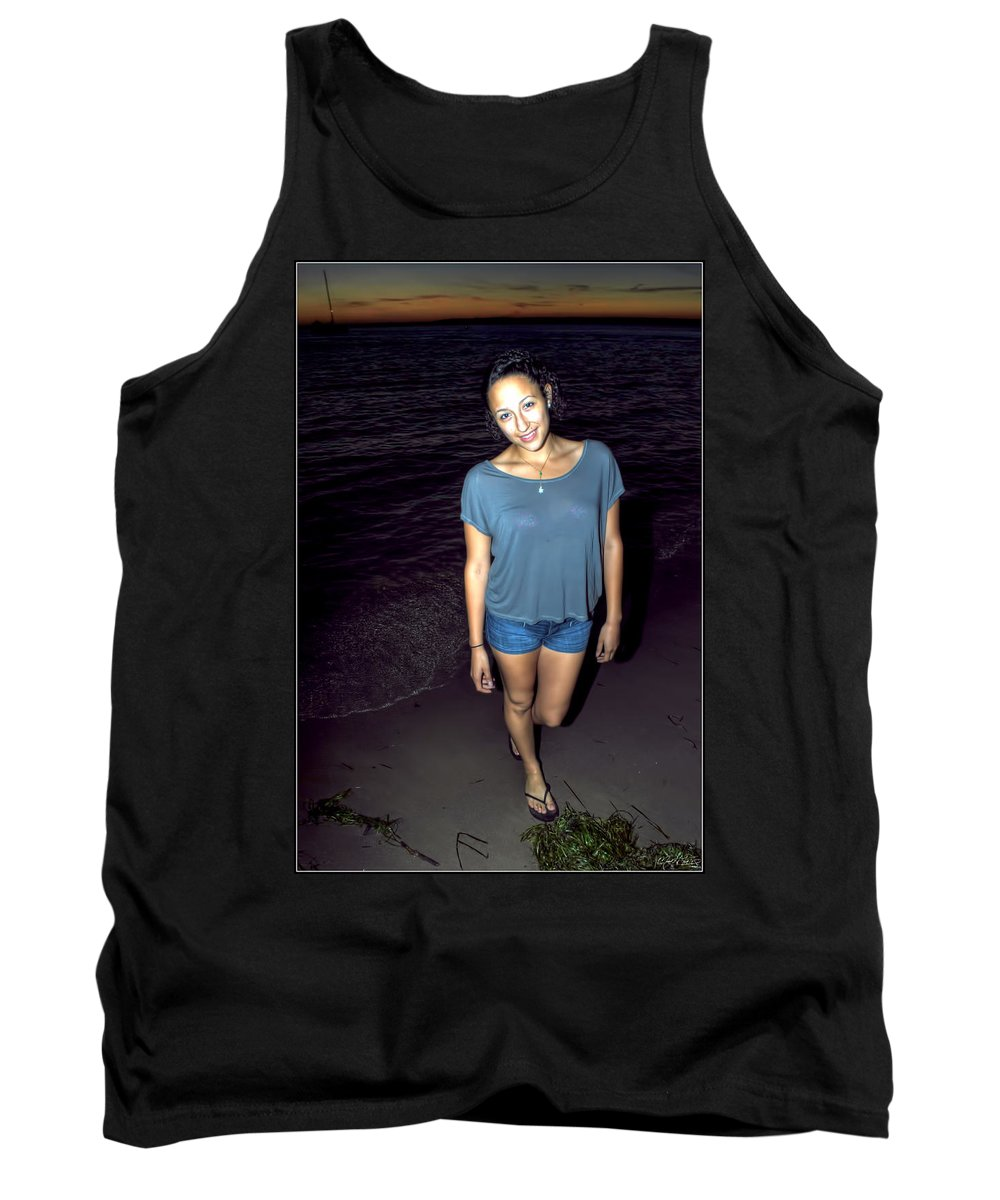 Tank Top featuring the photograph 001 A Sunset With Eyes That Smile Soothing Sounds Of Waves For Miles Portrait Series by Michael Frank Jr