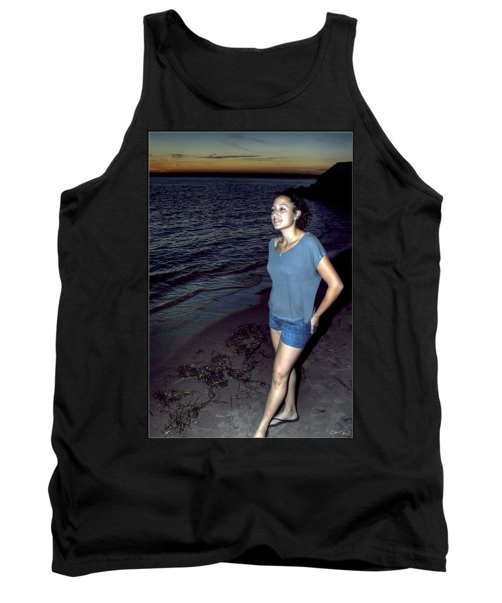 Tank Top featuring the photograph 004 A Sunset With Eyes That Smile Soothing Sounds Of Waves For Miles Portrait Series by Michael Frank Jr
