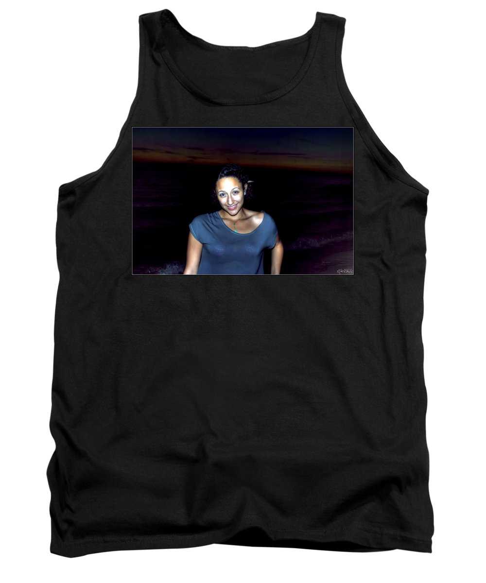 Tank Top featuring the photograph 014 A Sunset With Eyes That Smile Soothing Sounds Of Waves For Miles Portrait Series by Michael Frank Jr