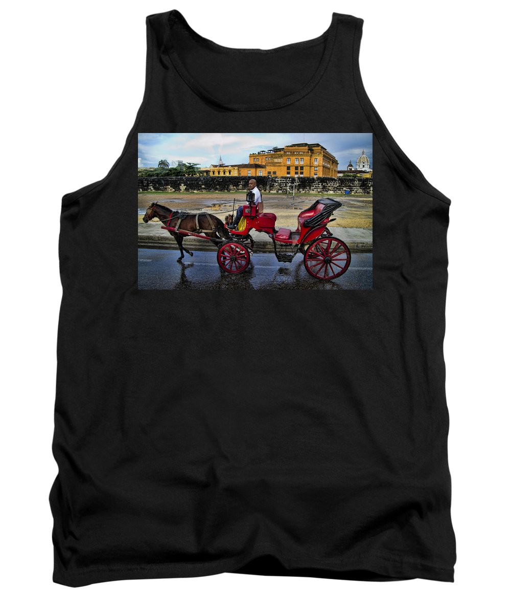 Cartagena Tank Top featuring the photograph Colonial Buildings In Old Cartagena Colombia by David Smith