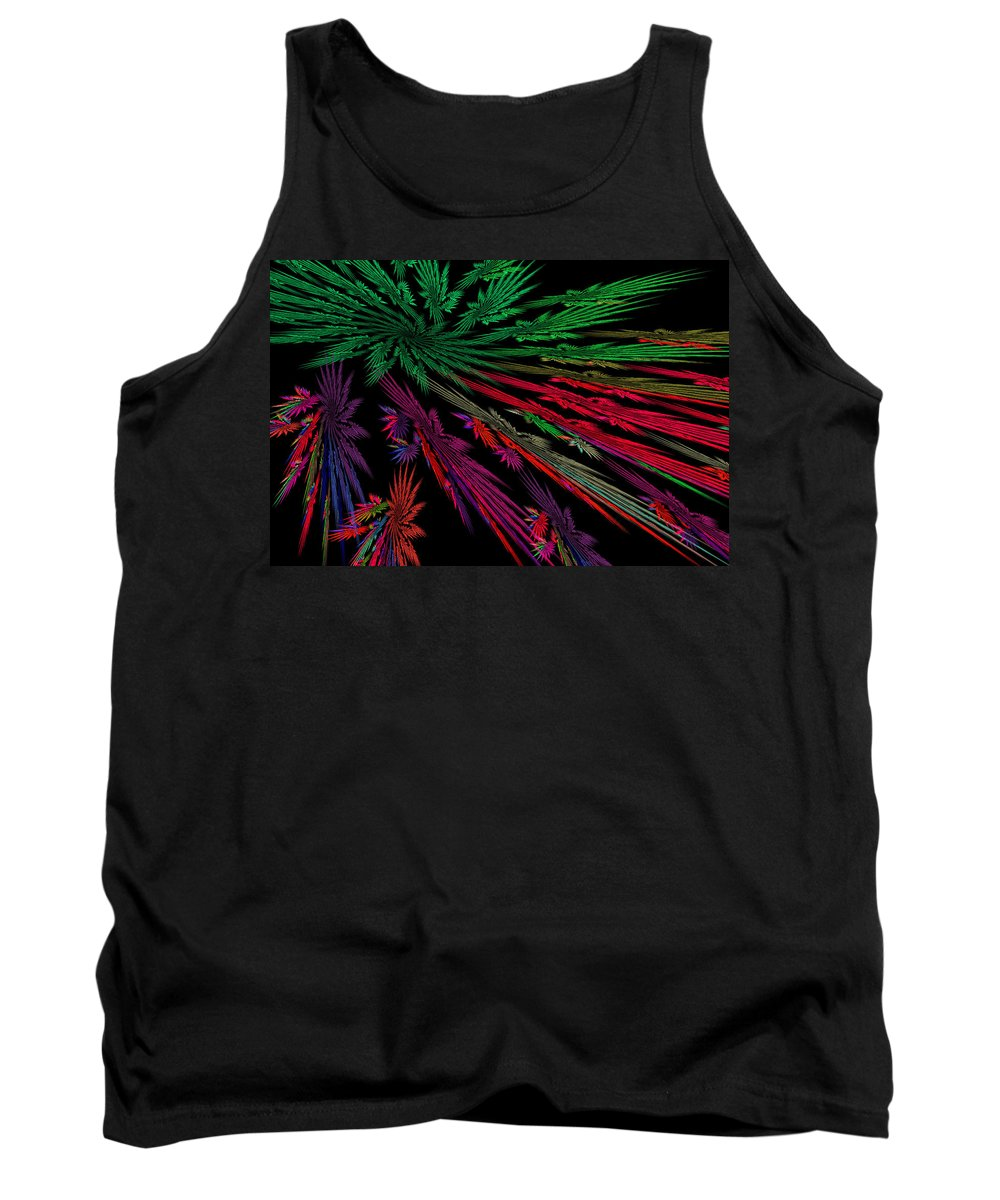 Red Tank Top featuring the photograph Computer Generated Red Green Abstract Fractal Flame Modern Art by Keith Webber Jr