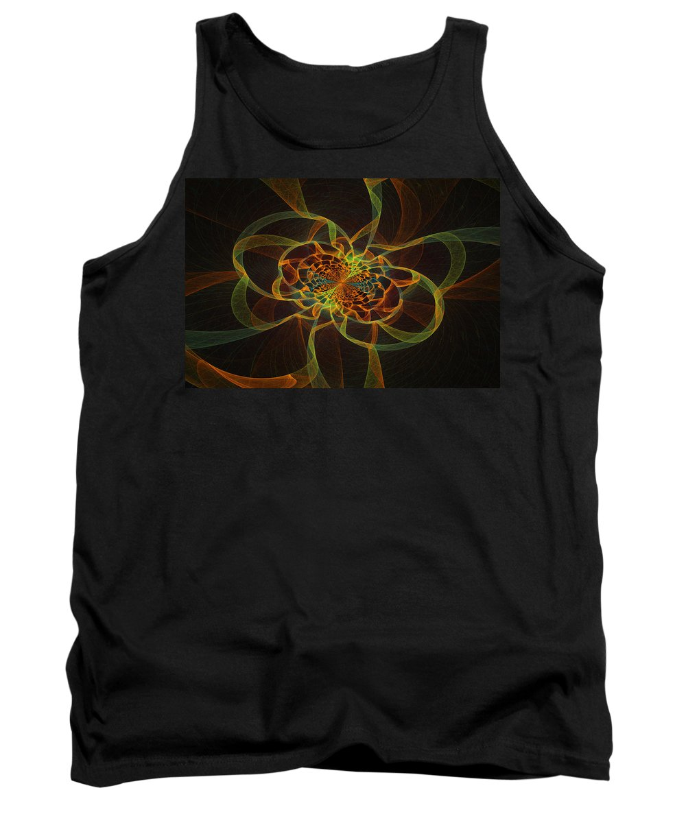 Yellow Tank Top featuring the digital art Computer Generated Yellow Vortex Abstract Fractal Flame Art by Keith Webber Jr