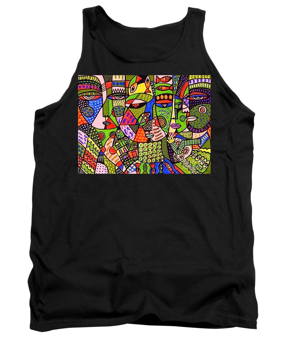 Women Tank Top featuring the painting Green Planet Guardians by Sandra Silberzweig
