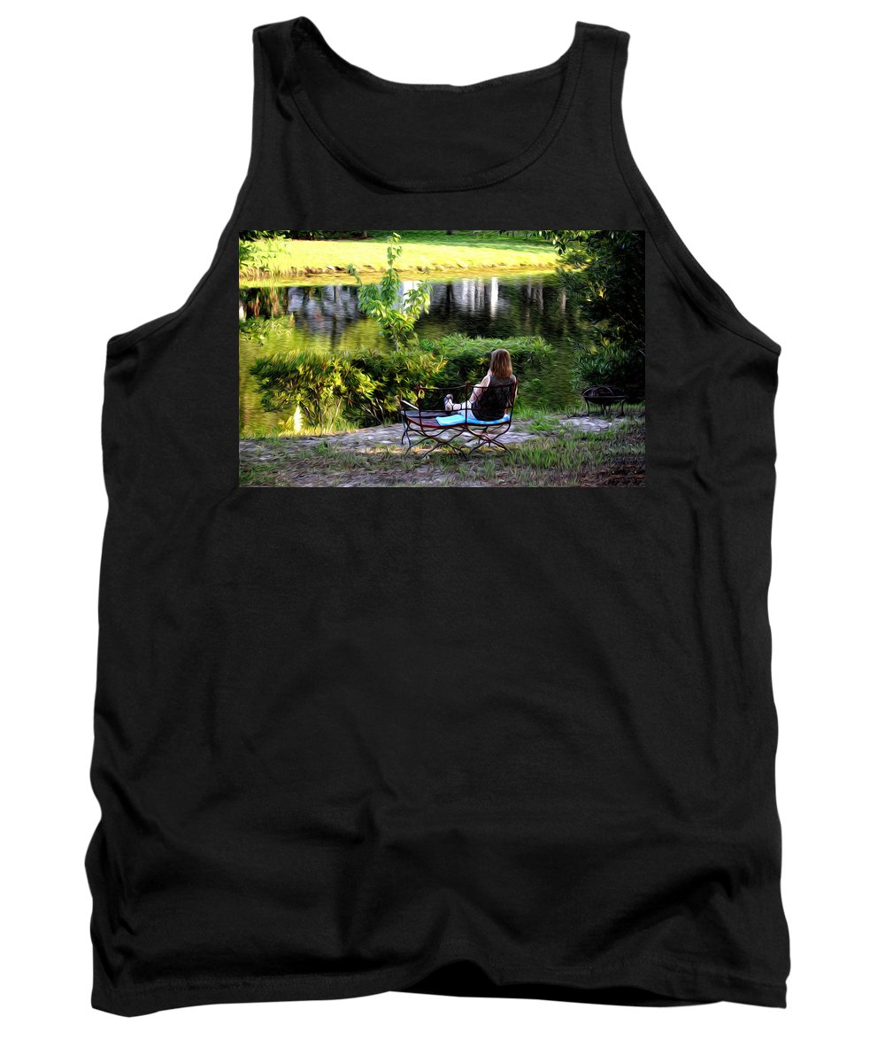Morning By The Pond Tank Top featuring the photograph Morning By The Pond by Bill Cannon