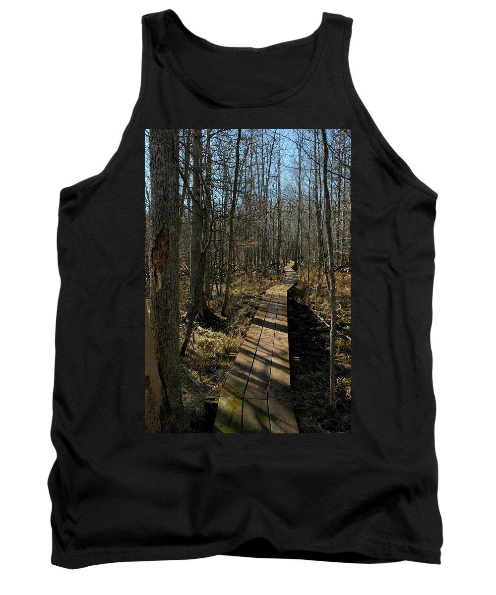 Usa Tank Top featuring the photograph Path Into The Woods by LeeAnn McLaneGoetz McLaneGoetzStudioLLCcom