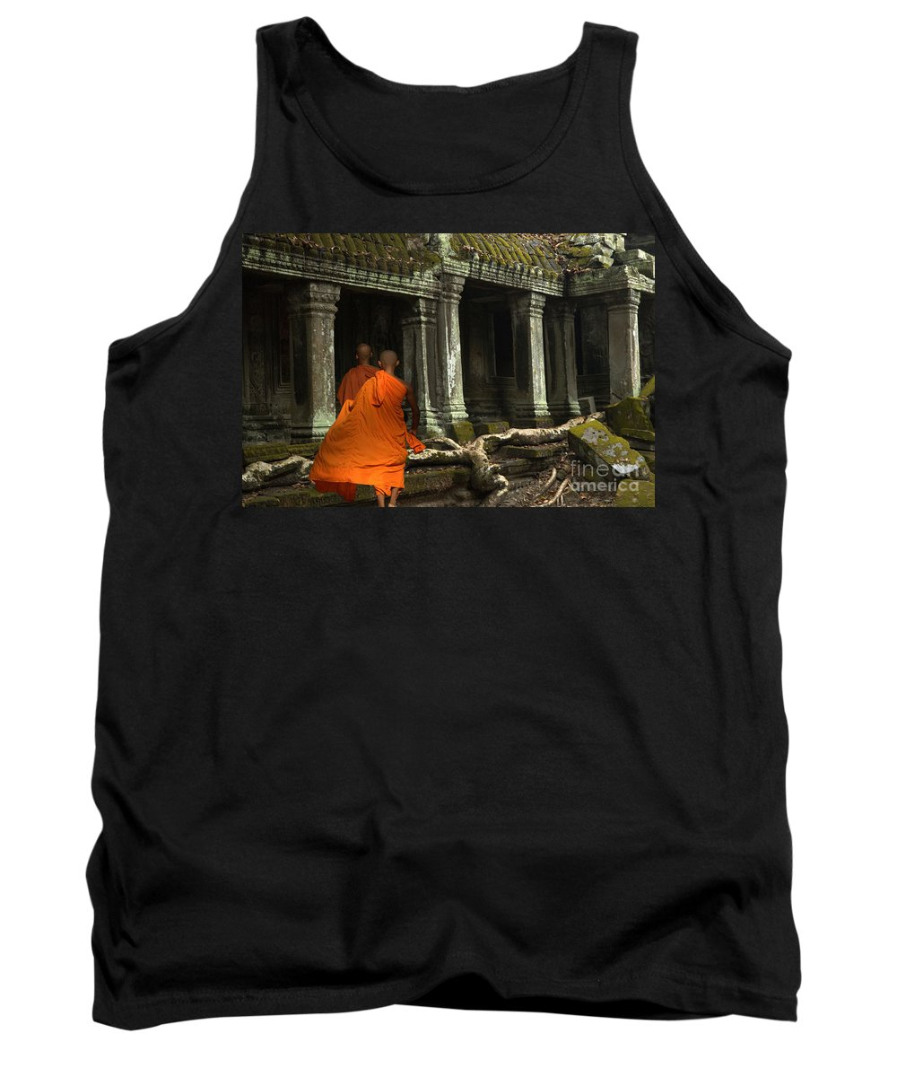 Travel Tank Top featuring the photograph Ta Prohm Cambodia by Bob Christopher