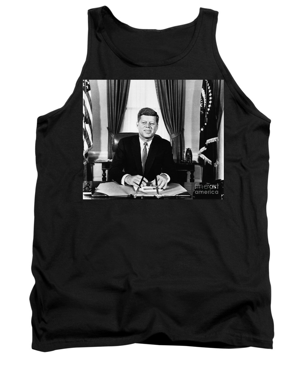 1961 Tank Top featuring the photograph John F. Kennedy (1917-1963) by Granger