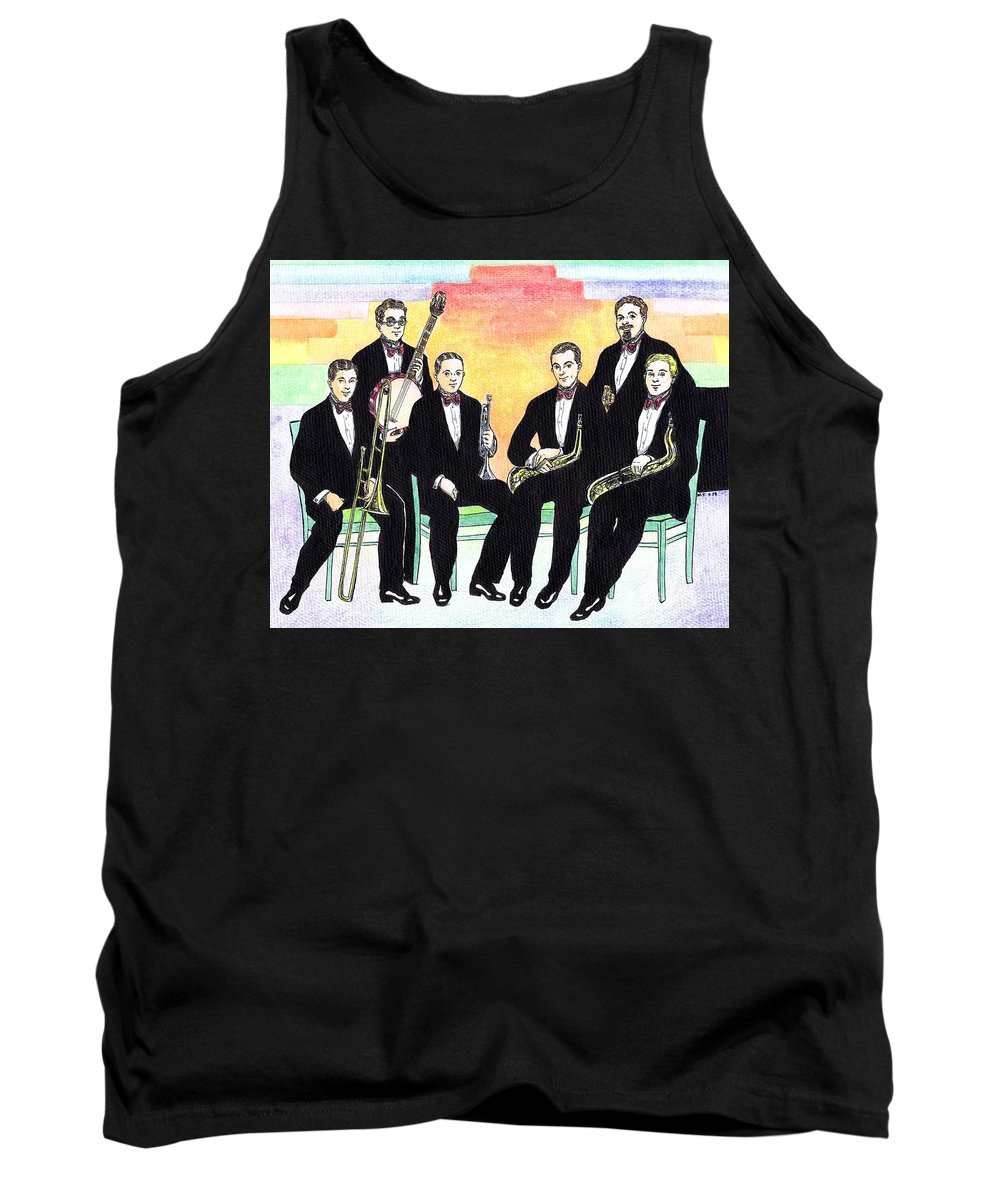 Nostalgia Tank Top featuring the drawing 1927 New Yorkers Jazz Band by Mel Thompson