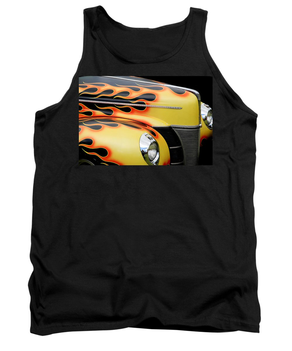 1940 Ford Tank Top featuring the photograph 1940 Flames by Steve McKinzie