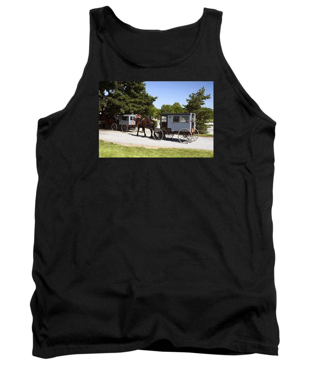 Amish Buggies Tank Top featuring the photograph Amish Buggies by Sally Weigand