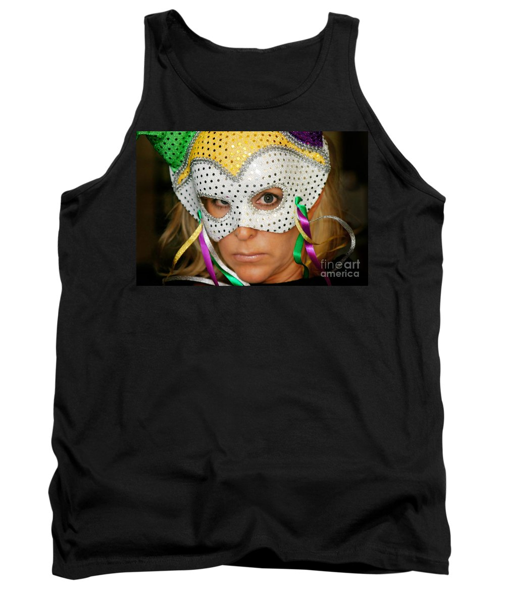 Young Tank Top featuring the photograph Blond Woman With Mask by Henrik Lehnerer