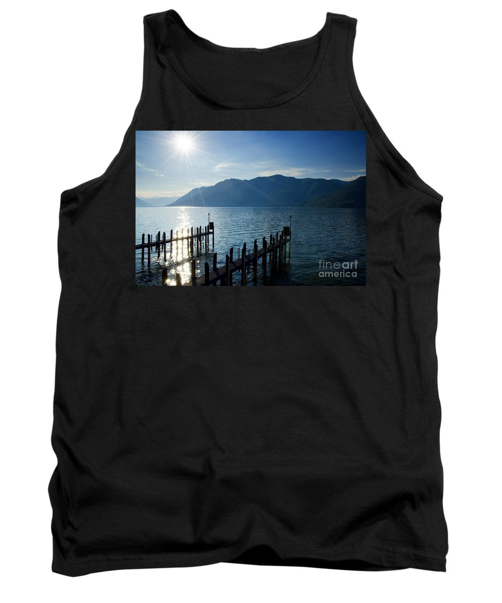 Pier Tank Top featuring the photograph Pier In Backlight by Mats Silvan