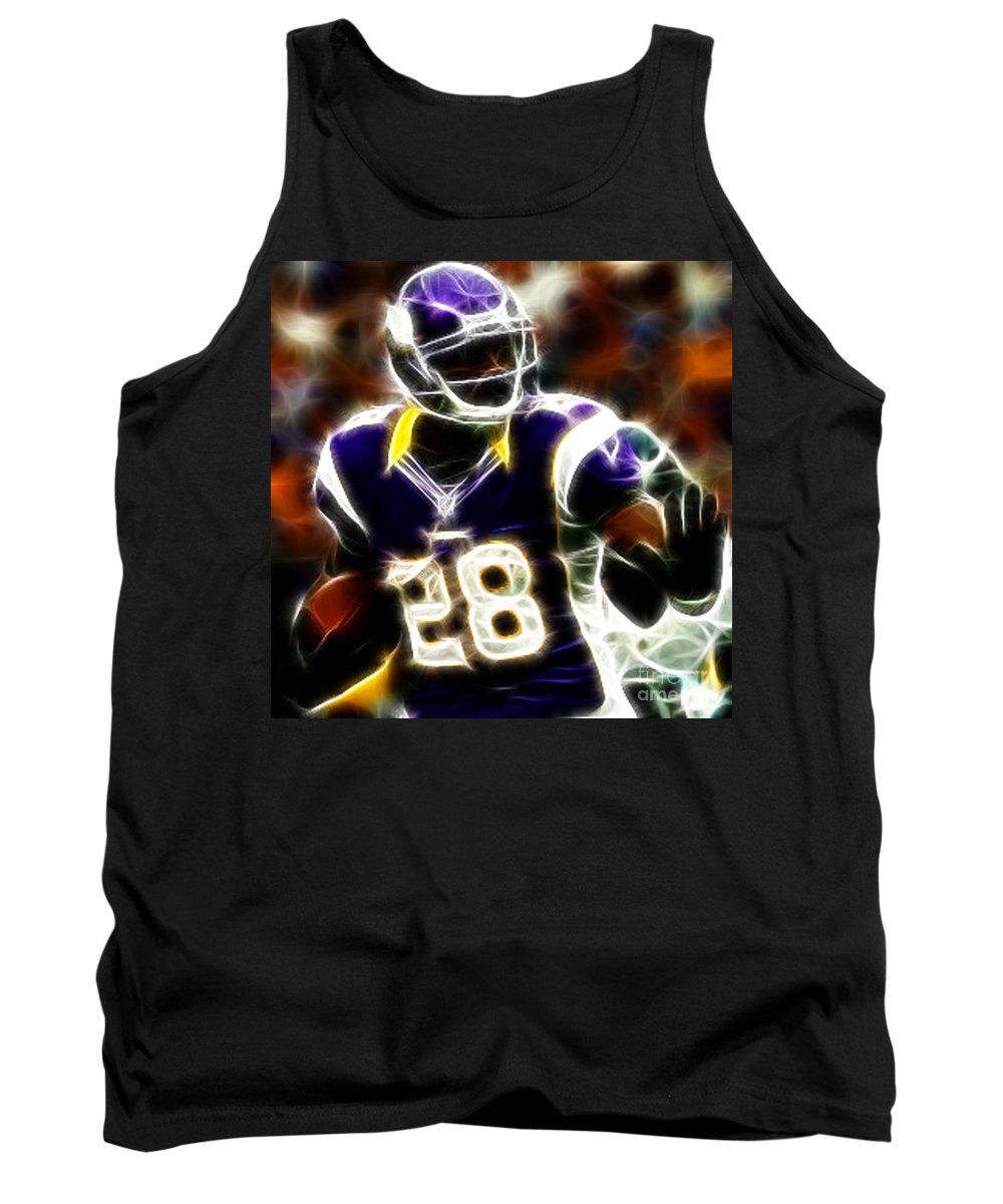 Adrian Peterson 28 - Football - Fantasy Tank Top featuring the photograph Adrian Peterson 02 - Football - Fantasy by Paul Ward