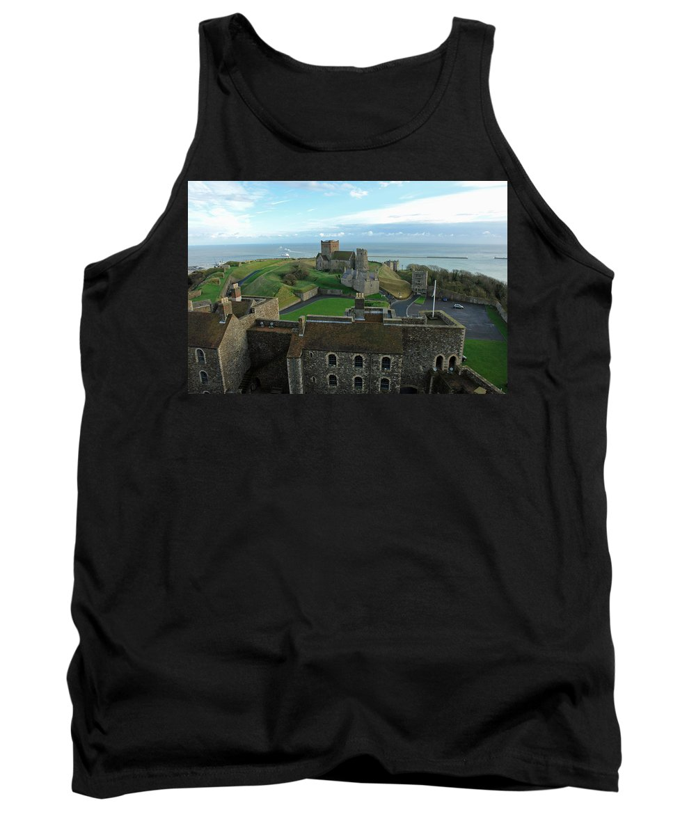 English Channel Tank Top featuring the photograph Aerial View Of Dover Castle by Ashish Agarwal