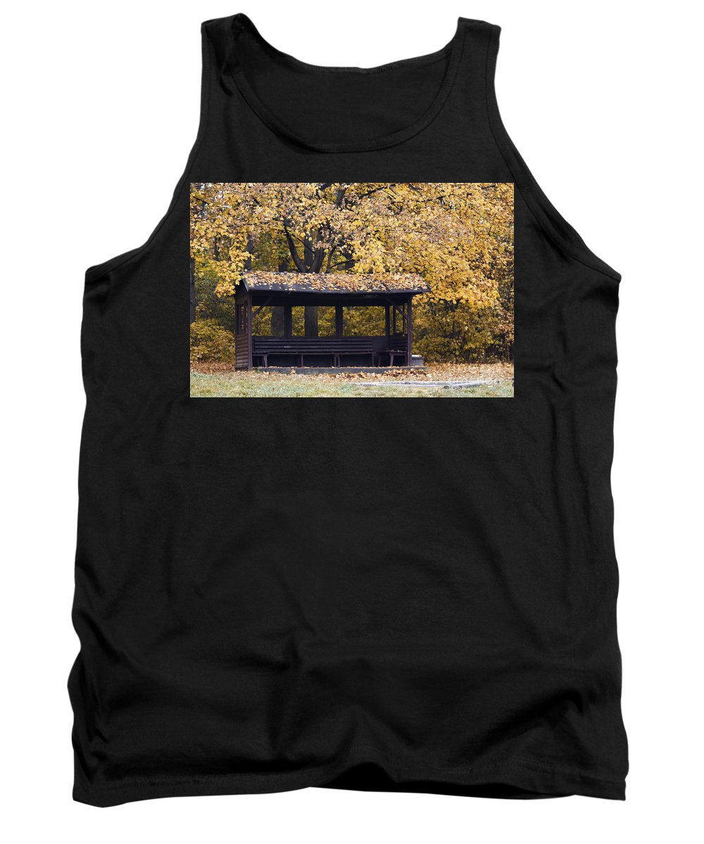 Autumn Tank Top featuring the photograph Alcove In The Autumn Park by Michal Boubin