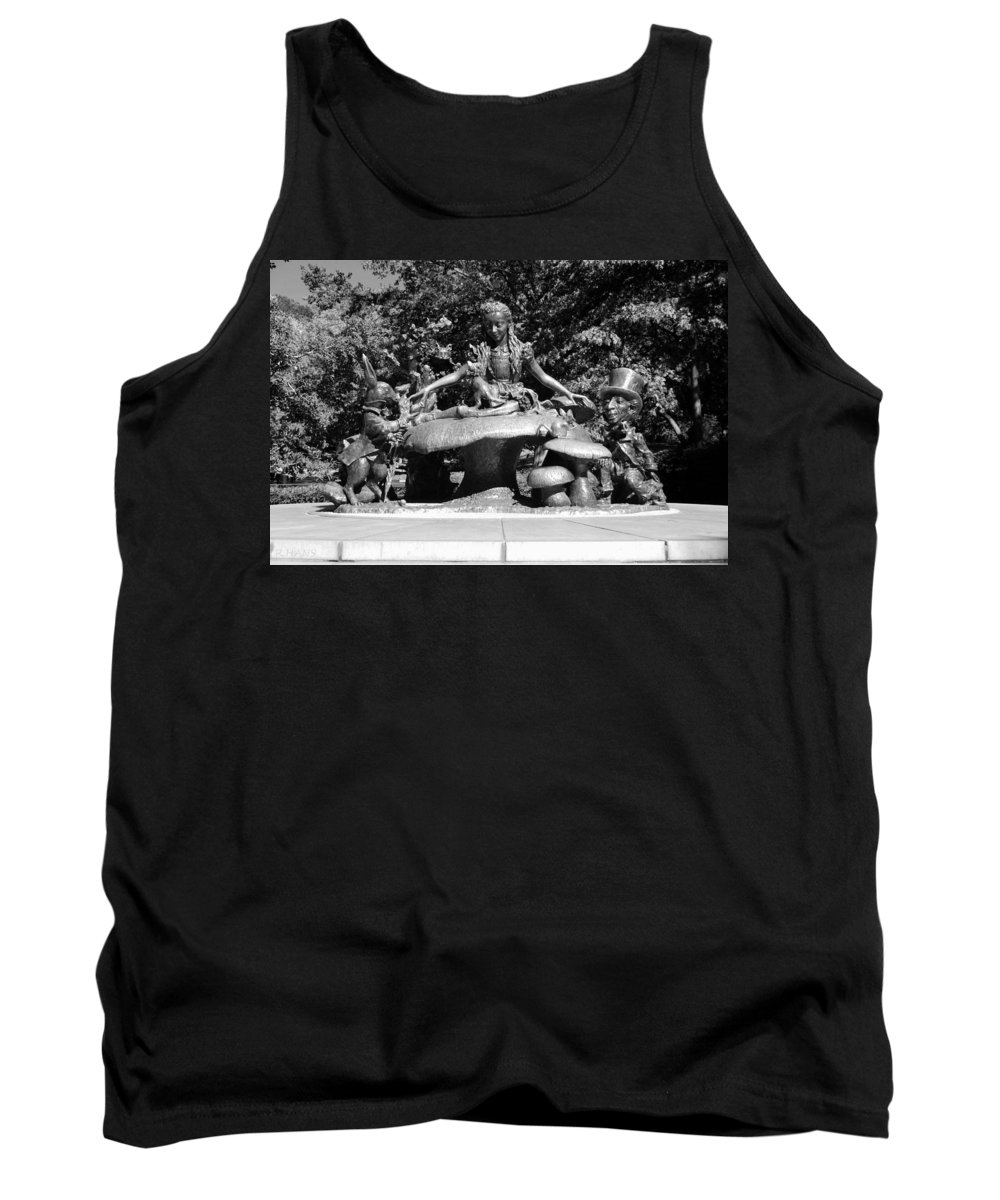 Central Park Tank Top featuring the photograph ALICE IN WONDERLAND in CENTRAL PARK in BLACK AND WHITE by Rob Hans