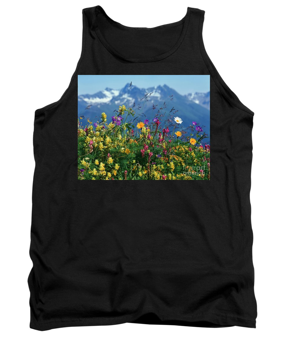 Plant Tank Top featuring the photograph Alpine Wildflowers by Hermann Eisenbeiss and Photo Researchers