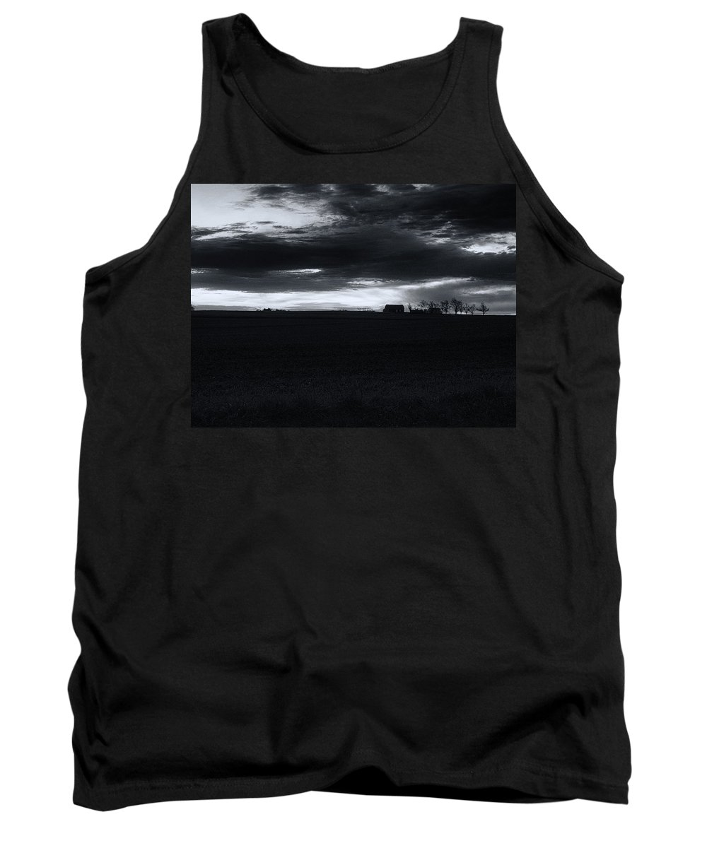 Amish Tank Top featuring the photograph Amish Sunrise Black And White by Joshua House