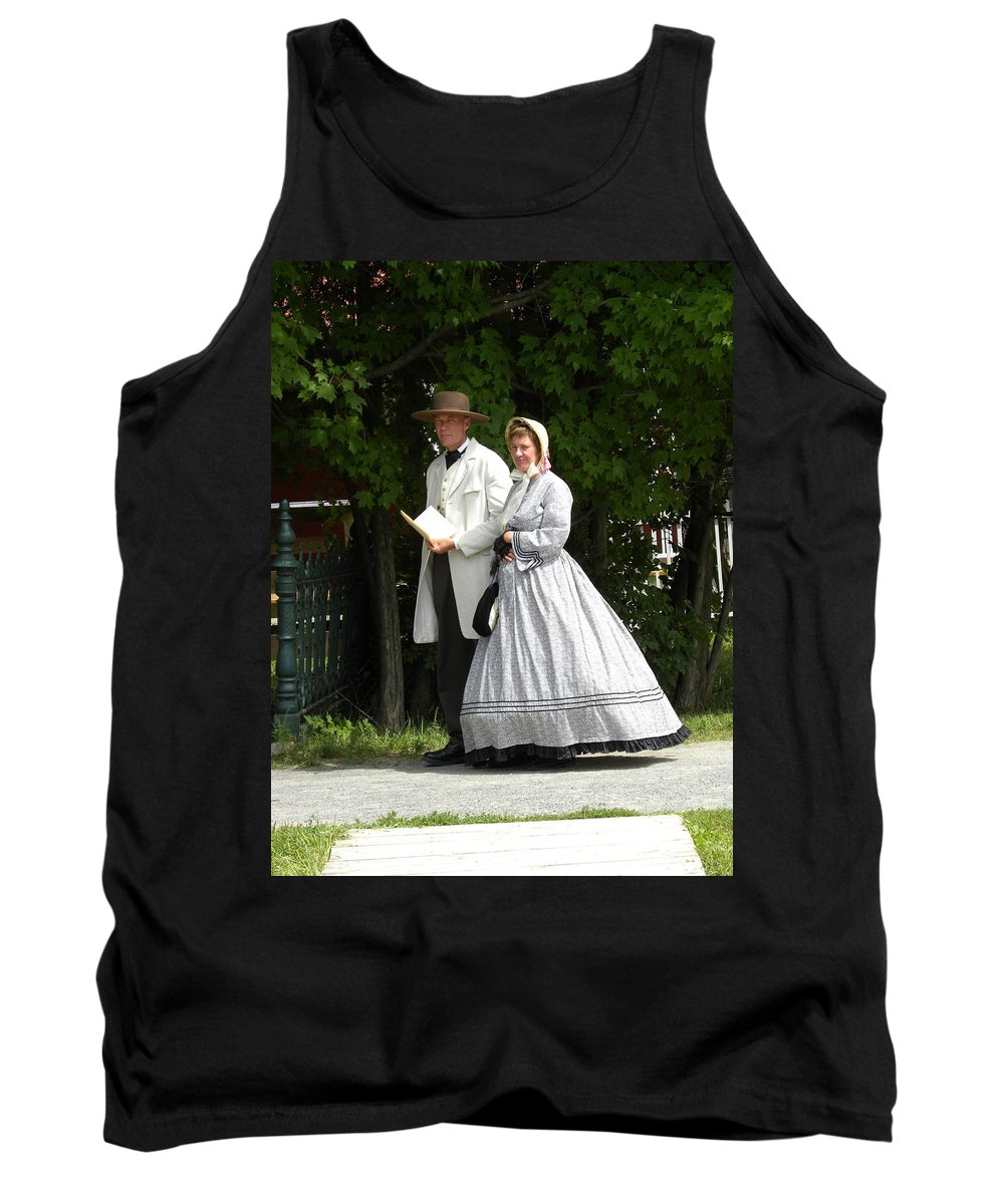Upper Canada Village Tank Top featuring the photograph An Afternoon Stroll by Peggy McDonald