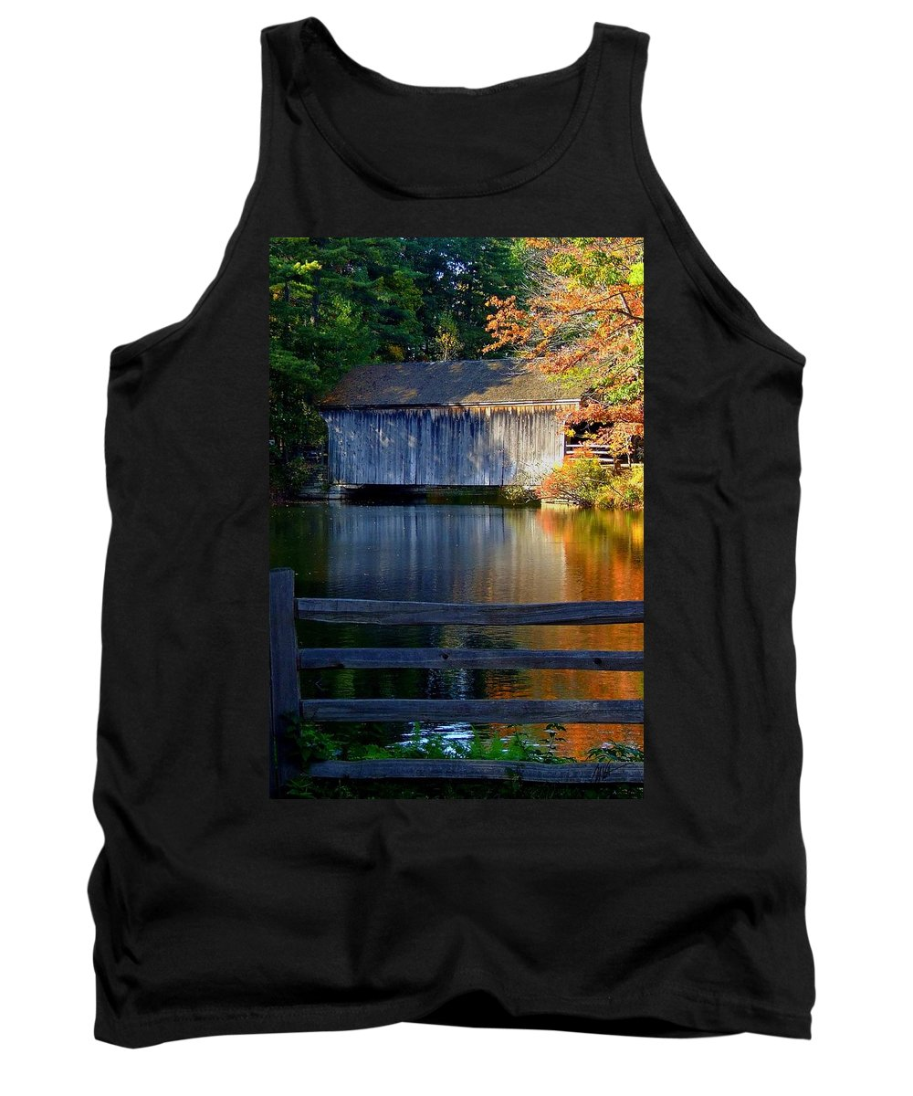 Tank Top featuring the photograph Autumn Crosses The Bridge - Greeting Card by Mark Valentine