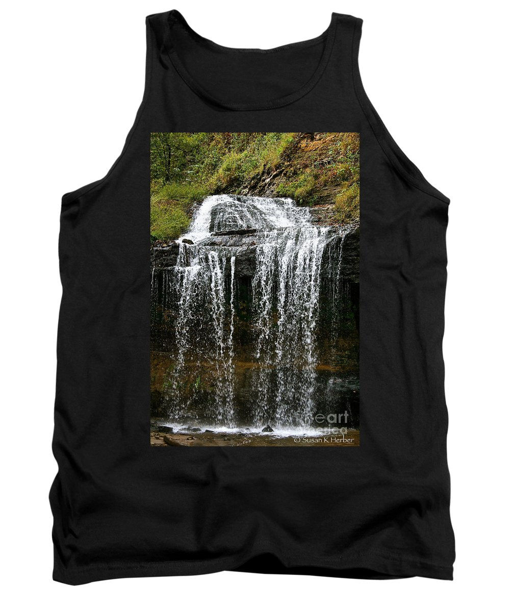 Landscape Tank Top featuring the photograph Autumn Water Fall by Susan Herber