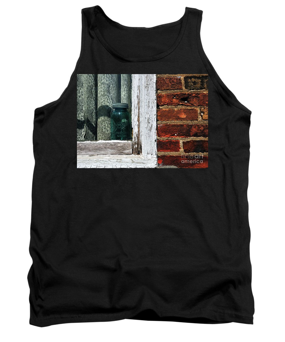 Jar Tank Top featuring the photograph Ball Jar And Lace by David Arment