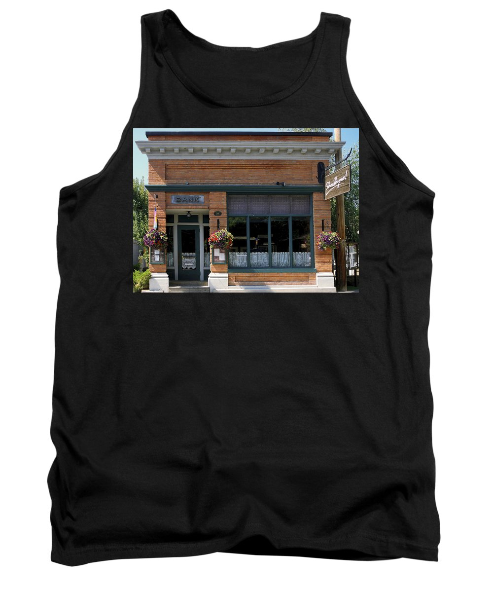 Historic Brick Bank Building Now Restaurant Tank Top featuring the photograph Bank Now Restaurant by Sally Weigand