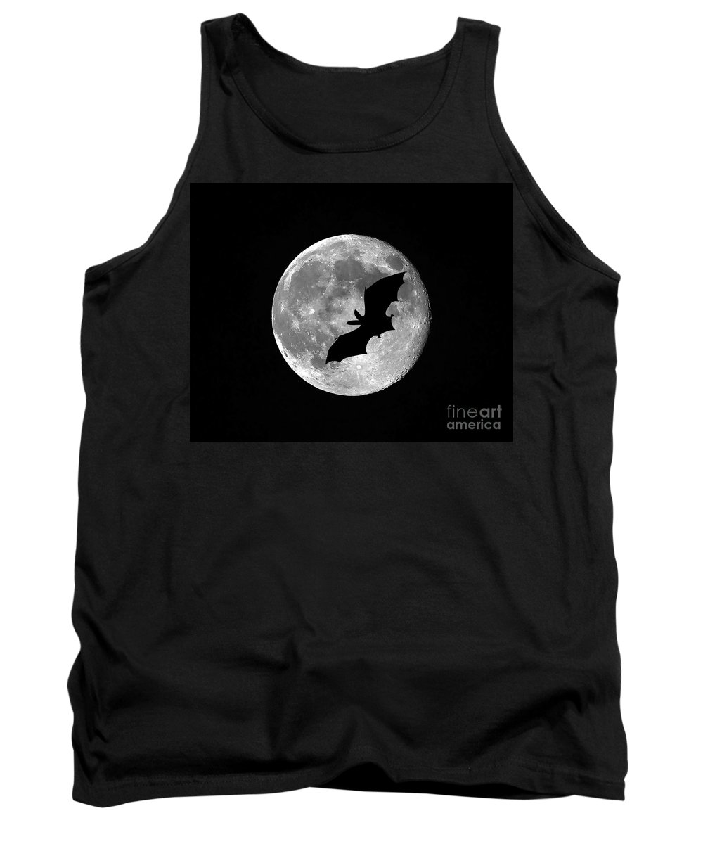 Moon Tank Top featuring the photograph Bat Moon by Al Powell Photography USA