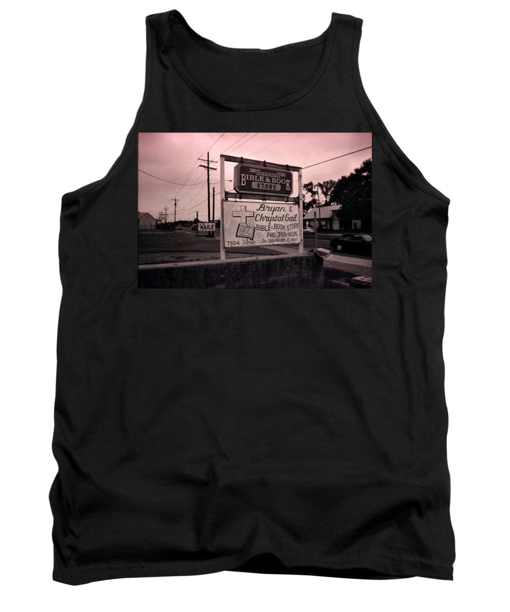 Louisiana Tank Top featuring the photograph Bible And Bookstore- Nails by Doug Duffey