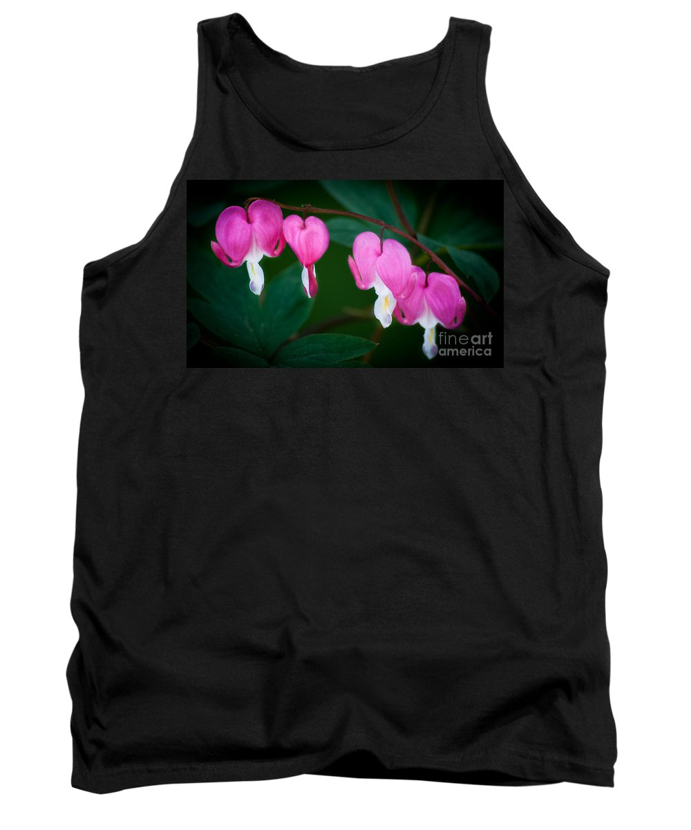 Flower Tank Top featuring the photograph Bleeding Hearts 002 by Larry Carr