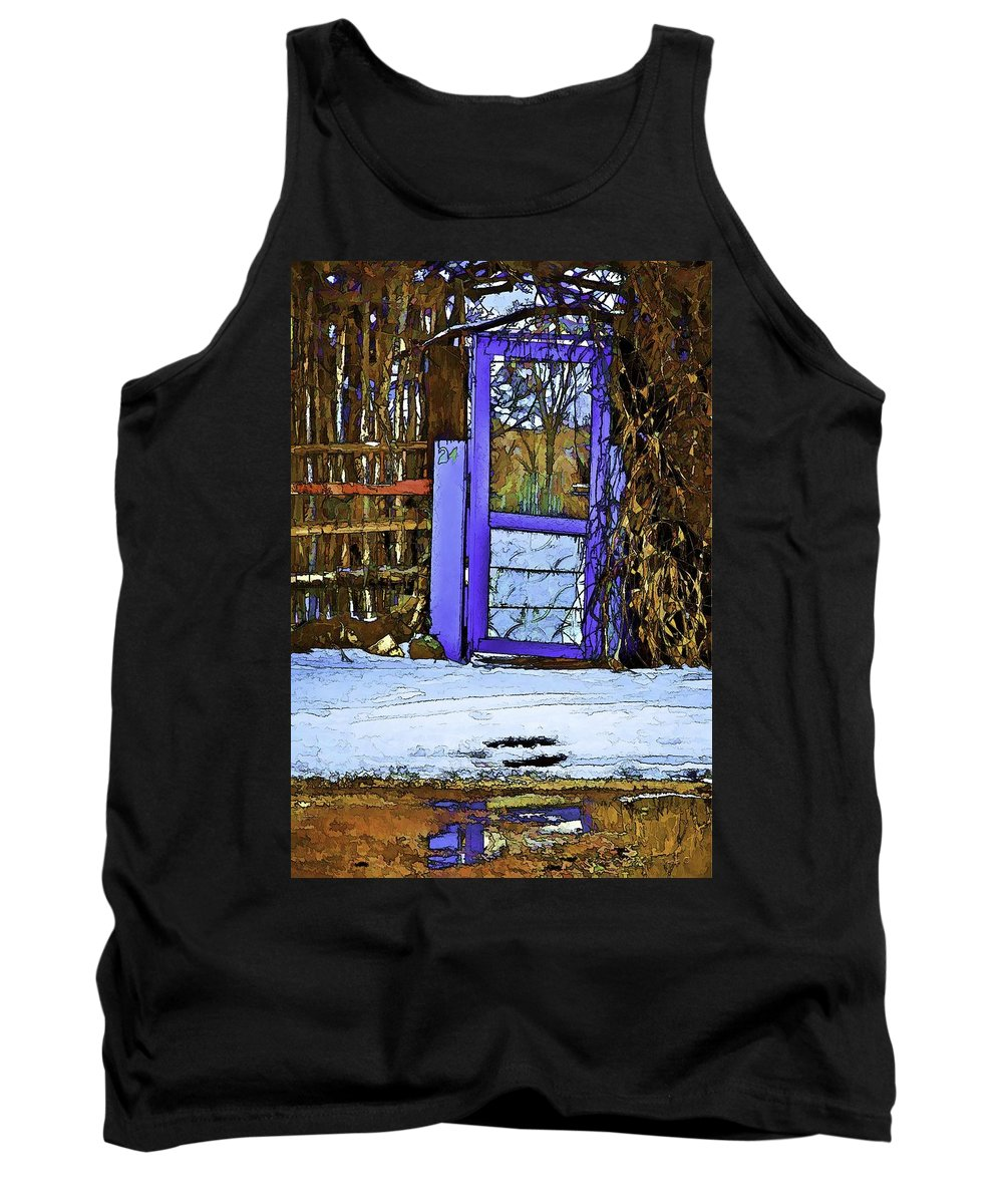 Blue Tank Top featuring the digital art Blue Gate #24 by Charles Muhle