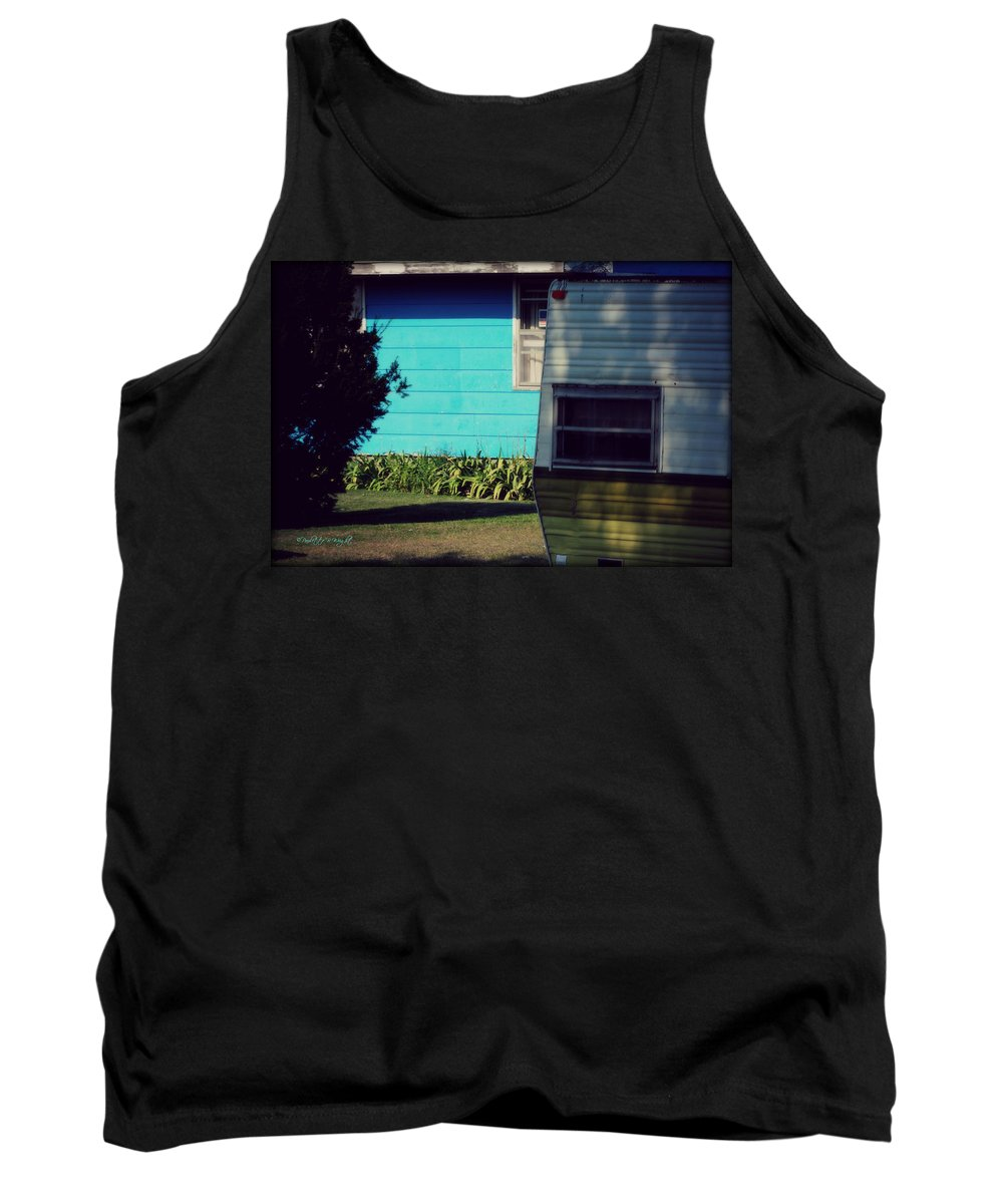 Nature Tank Top featuring the photograph Blue Siding And Camper by Paulette B Wright