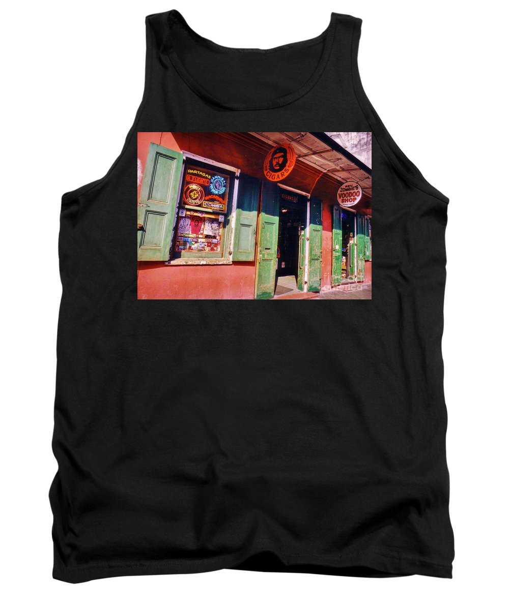 Store Fronts Tank Top featuring the photograph Bourbon Stree Shops by John Malone