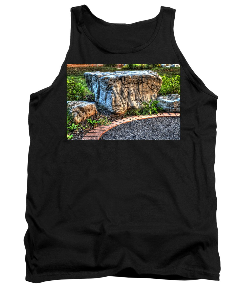 Acrylic Prints Tank Top featuring the photograph Brenda's Boulder At Dawn Or Altar In The Garden by John Herzog