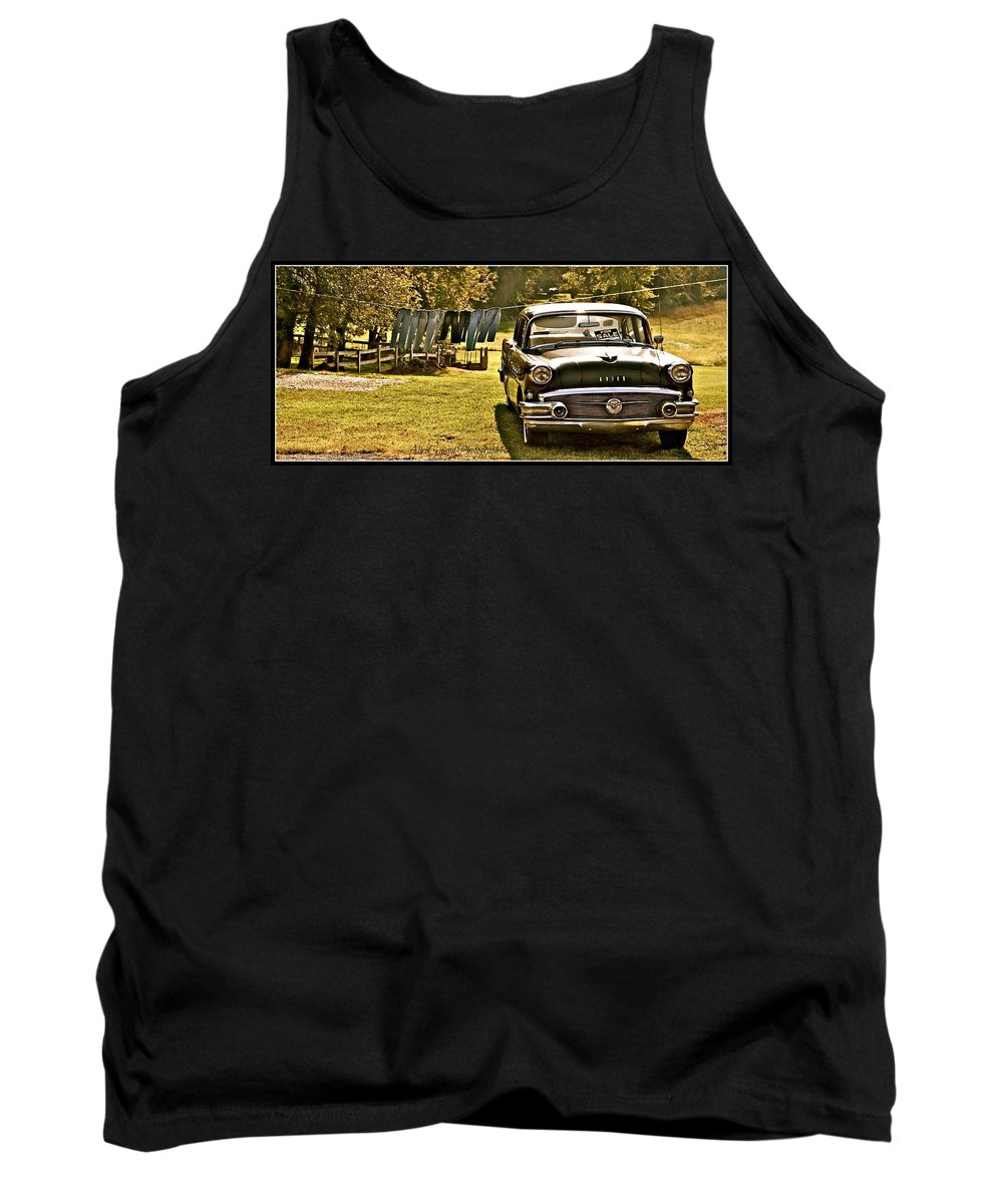 Black Buick Antique Rural Clothesline Tank Top featuring the photograph Buick For Sale by Alice Gipson