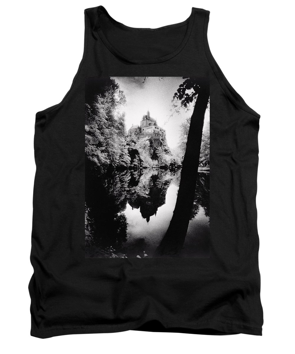Castle; Ghostly; Reflection; Architecture; Tree Tank Top featuring the photograph Burg Kriebstein by Simon Marsden