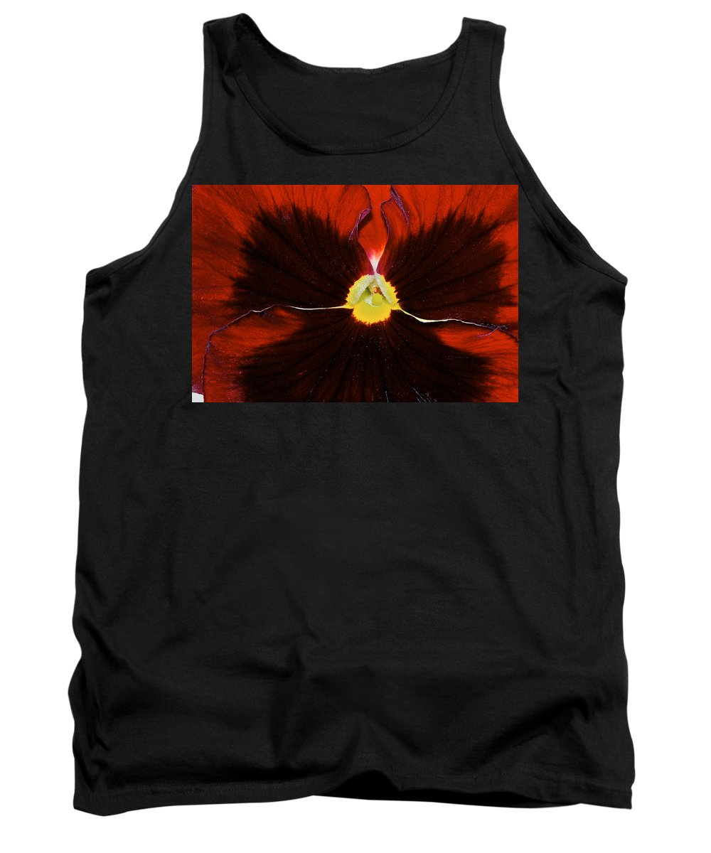 Pansy Tank Top featuring the photograph Burgandy Pansy by Phyllis Denton