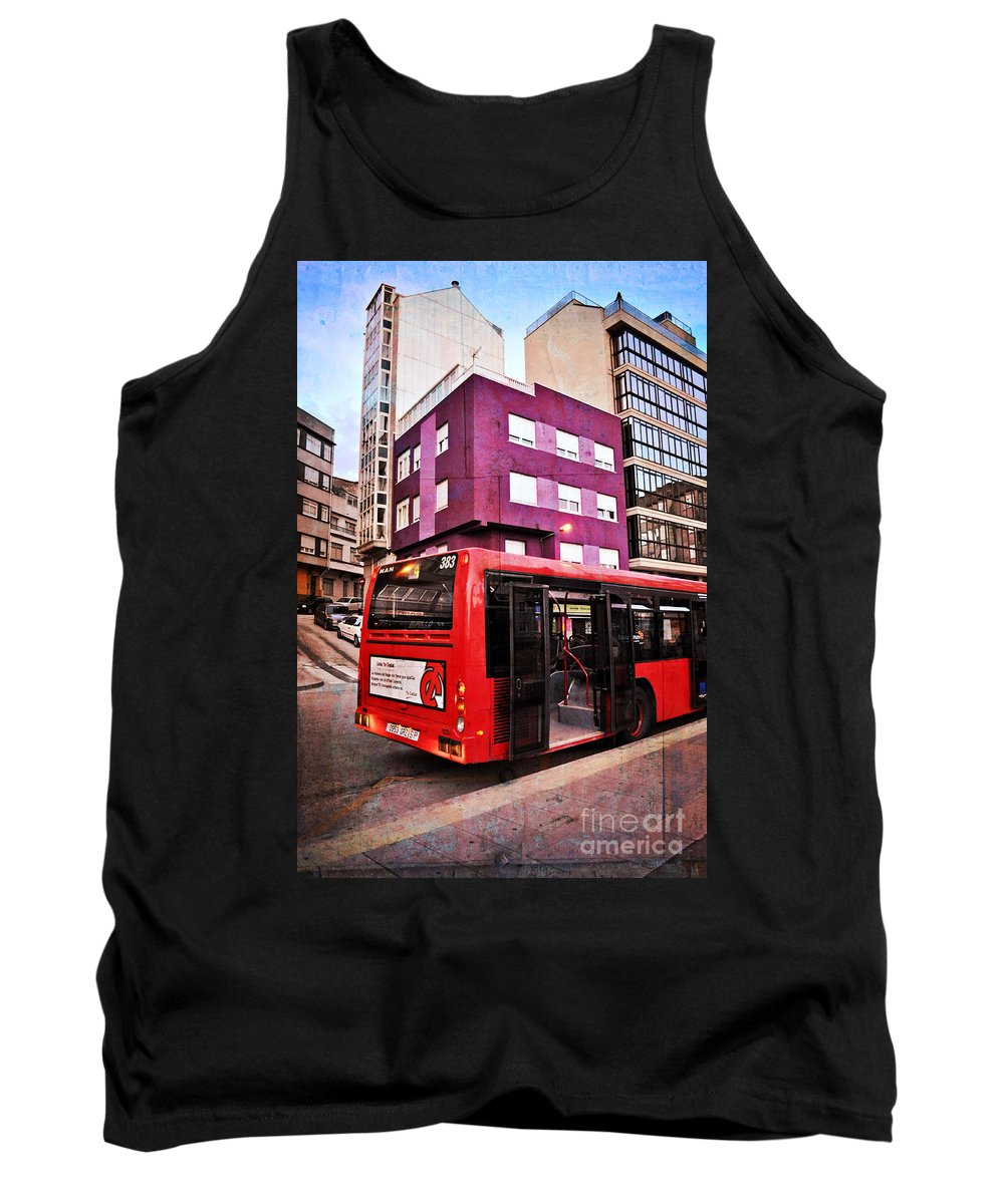 Bus Stop Tank Top featuring the photograph Bus Stop - La Coruna by Mary Machare