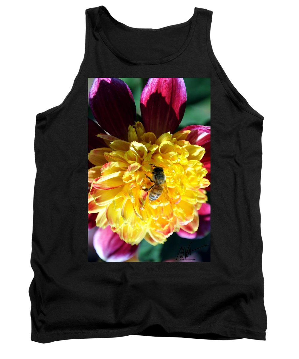 Tank Top featuring the photograph Busy Bee On Yellow Flower by Mark Valentine