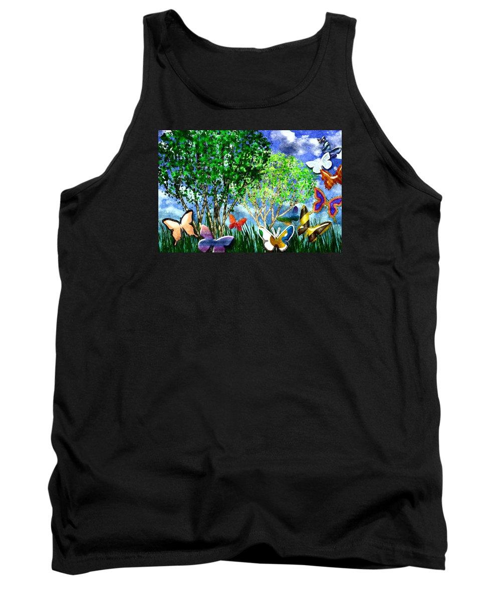 Butterfly Tank Top featuring the digital art Butterfly Dance by Vicki Podesta